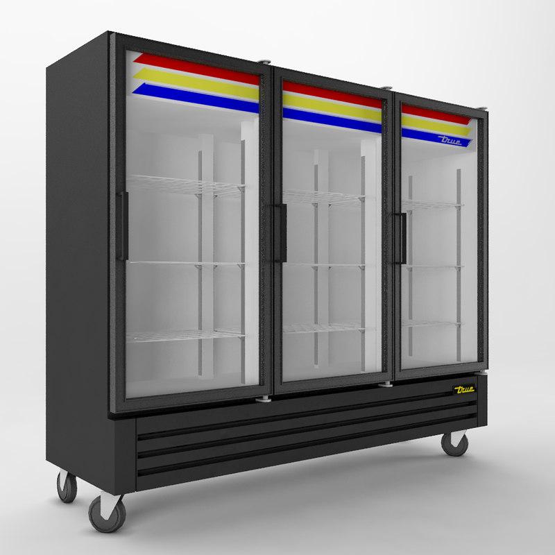 3d glass door refrigerator true