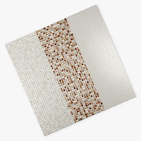 3d tile wall glass beige model