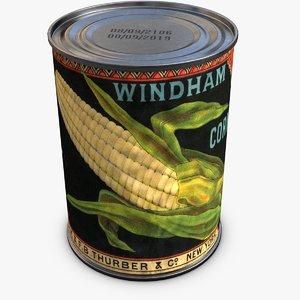 3d model canned corn
