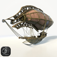 Steampunk airship (2) low poly