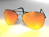 aviator orange sun glasses 3d max