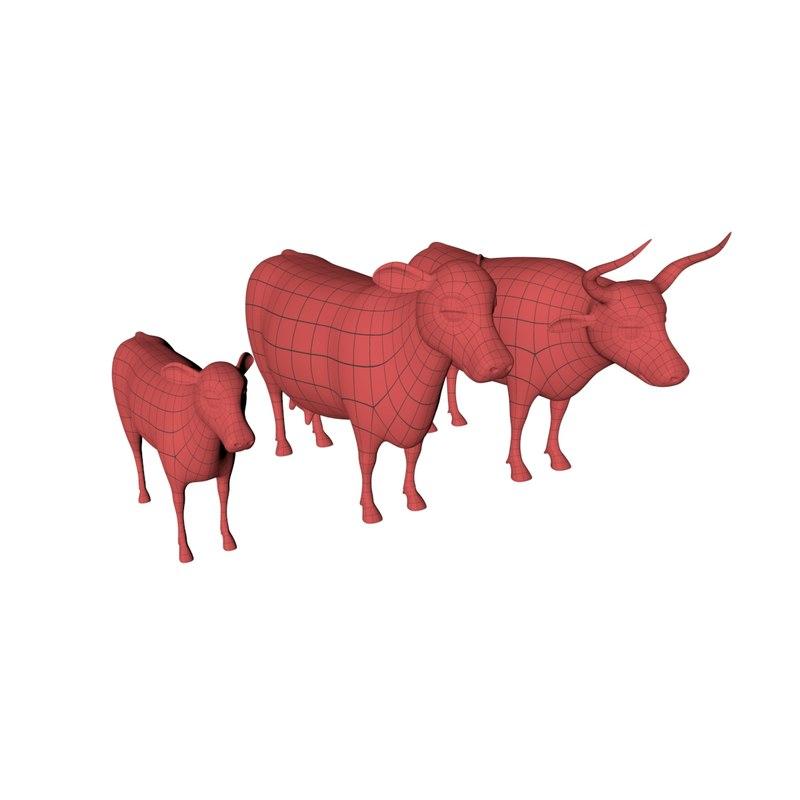 3d cow base mesh bull