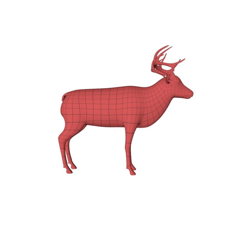 base mesh elk deer 3d c4d