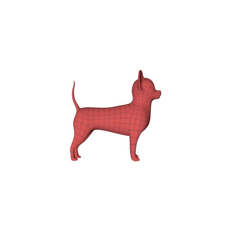 base mesh chihuahua dog c4d