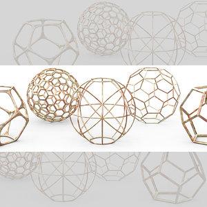 3d 3ds geometric decor objects -