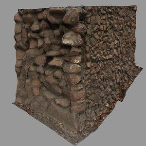 3d model stone corner wall