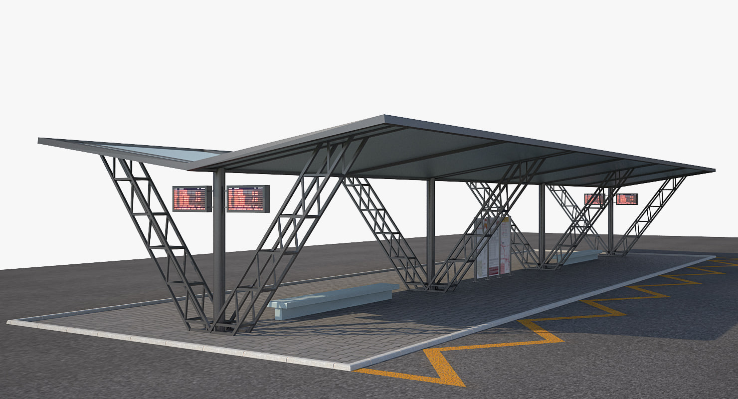 3d model bus stop 2