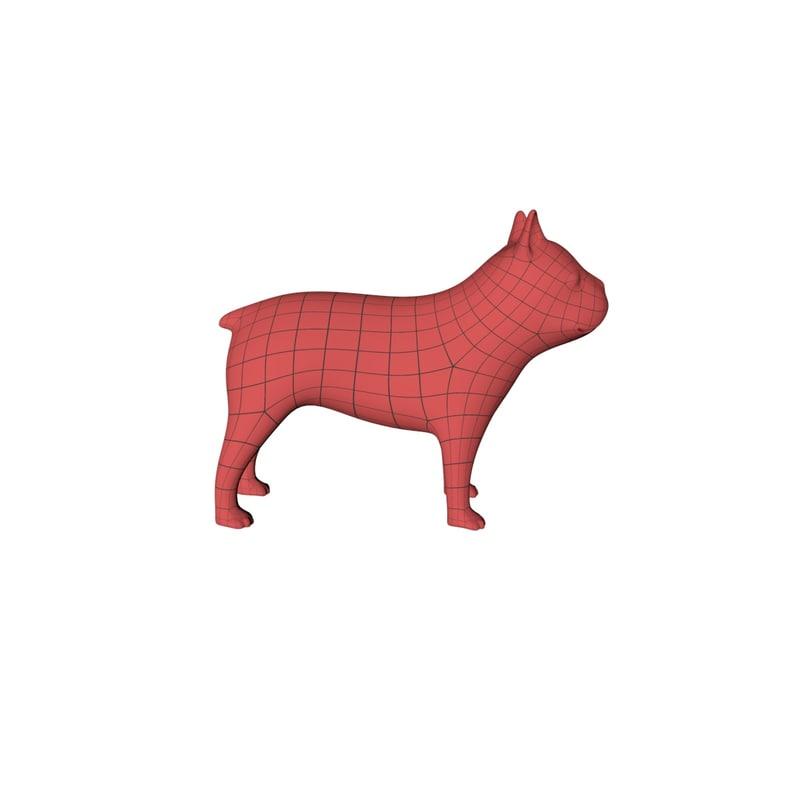 base mesh french bulldog 3d c4d