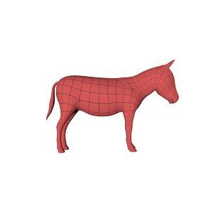 3d model base mesh donkey