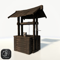 Medieval water well low poly