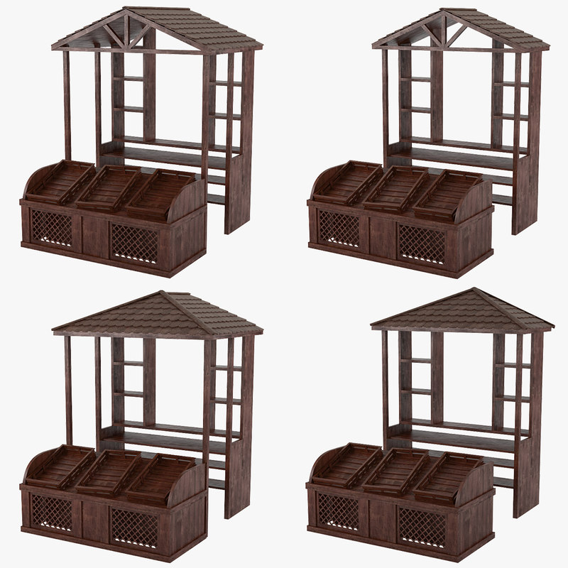 wooden store stands 3d model
