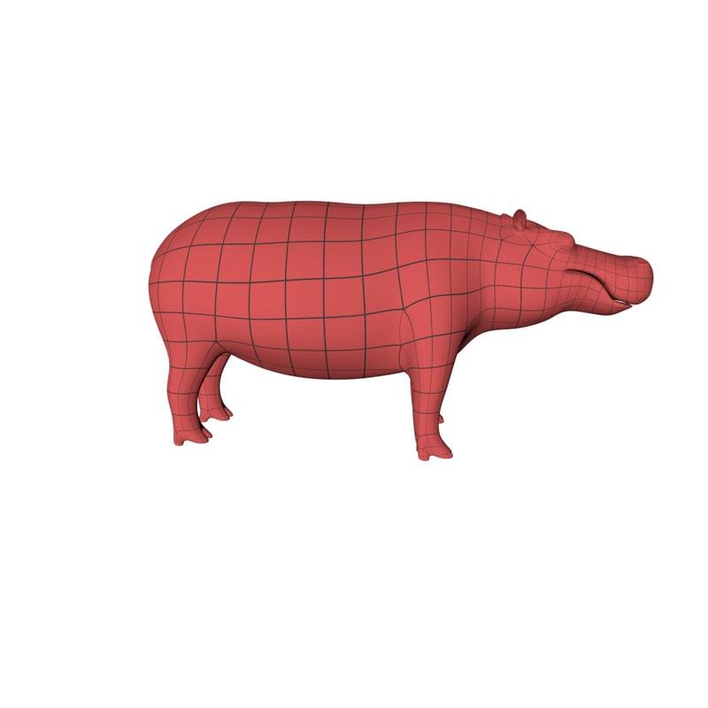 3d model of base mesh hippo