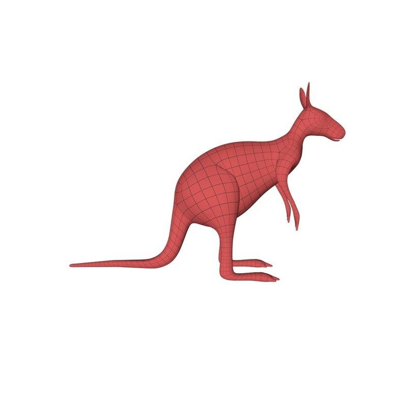 base mesh kangaroo 3d model