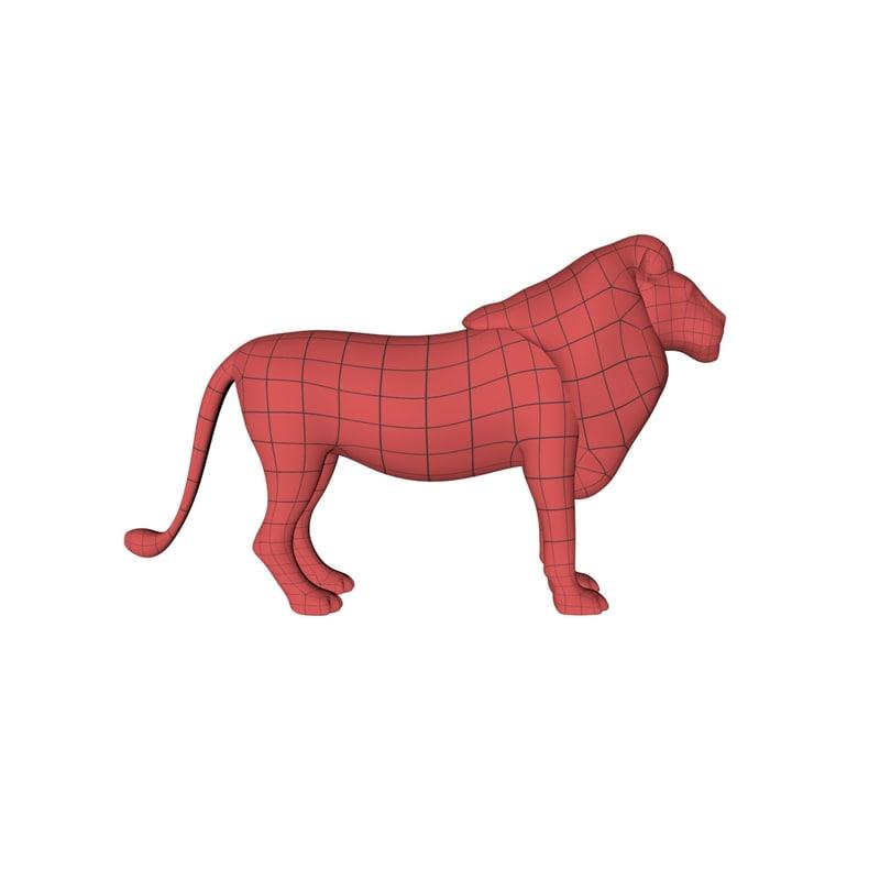 3d base mesh lion model