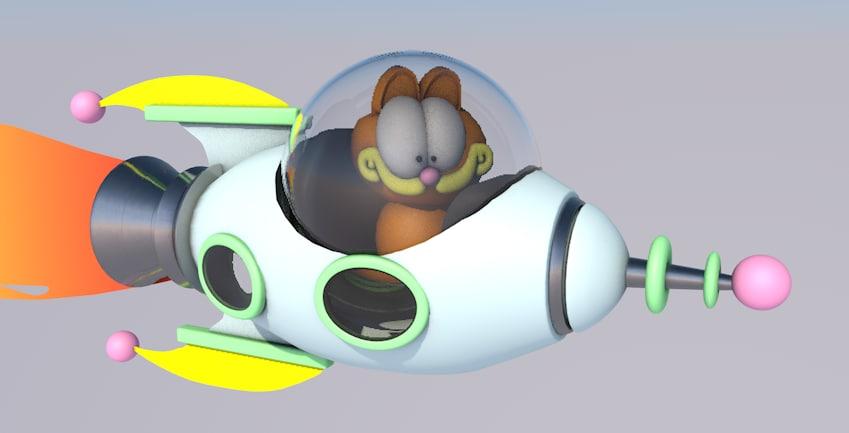 spaceship garfield cartoon 3d x