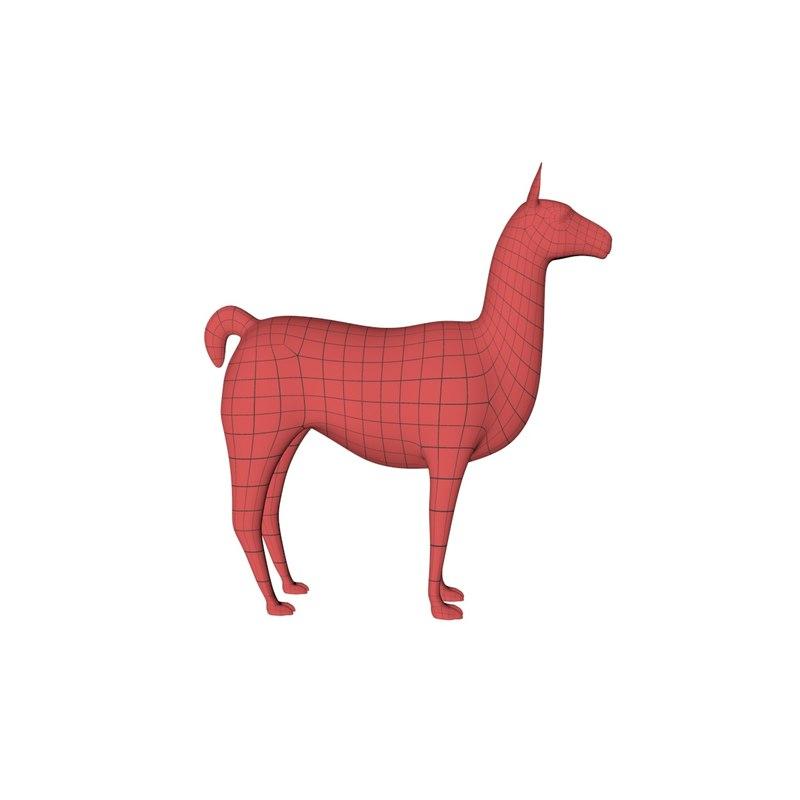 base mesh llama 3d model