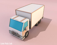 Cartoon Truck Low Poly