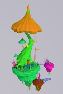 3d house mushroom