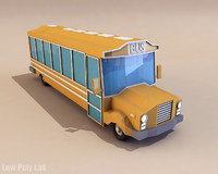 Cartoon School Bus Low Poly