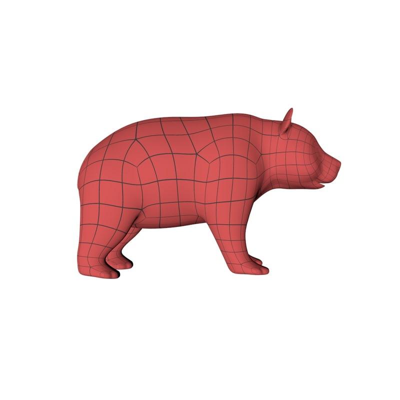 base mesh panda bear 3d model