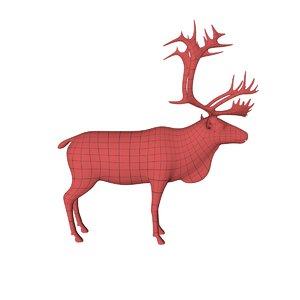 3d model base mesh reindeer