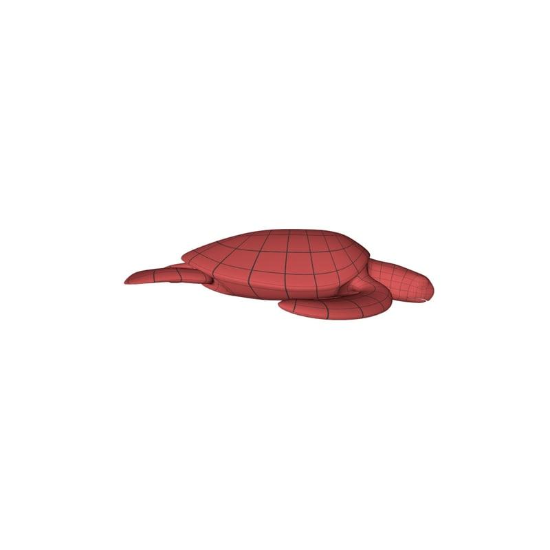 base mesh sea turtle 3d model