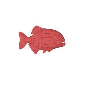 3d base mesh piranha fish