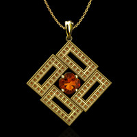 Millgrain gold pendant with Orange Topaz
