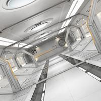 3d modular sci fi corridor model