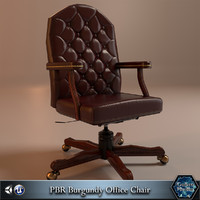 PBR Burgundy Office Chair