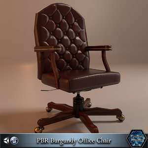 burgundy office chair pbr 3d 3ds