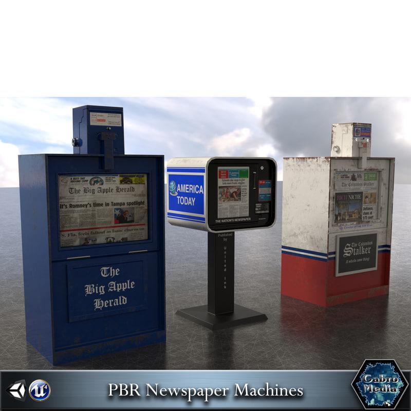 3d newspaper machines pbr model
