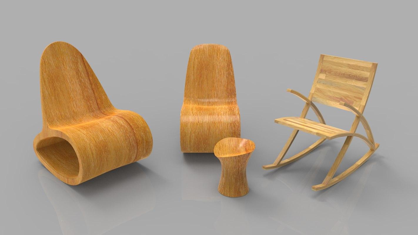 3d model rocking wooden chair