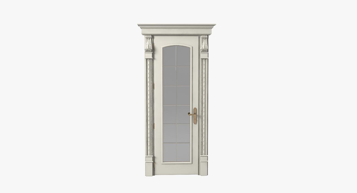 luxury glass door 3d obj