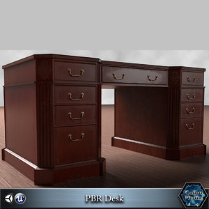 mahogany desk pbr 3d model