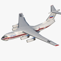 Ilyushin Il-76 Emergency Russian Air Force Rigged 3D Model