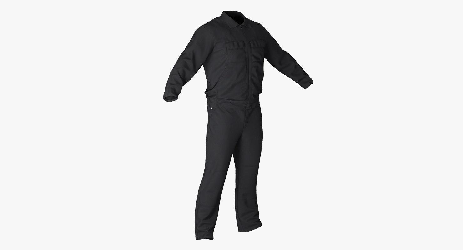 long sleeve coveralls uniform 3d model