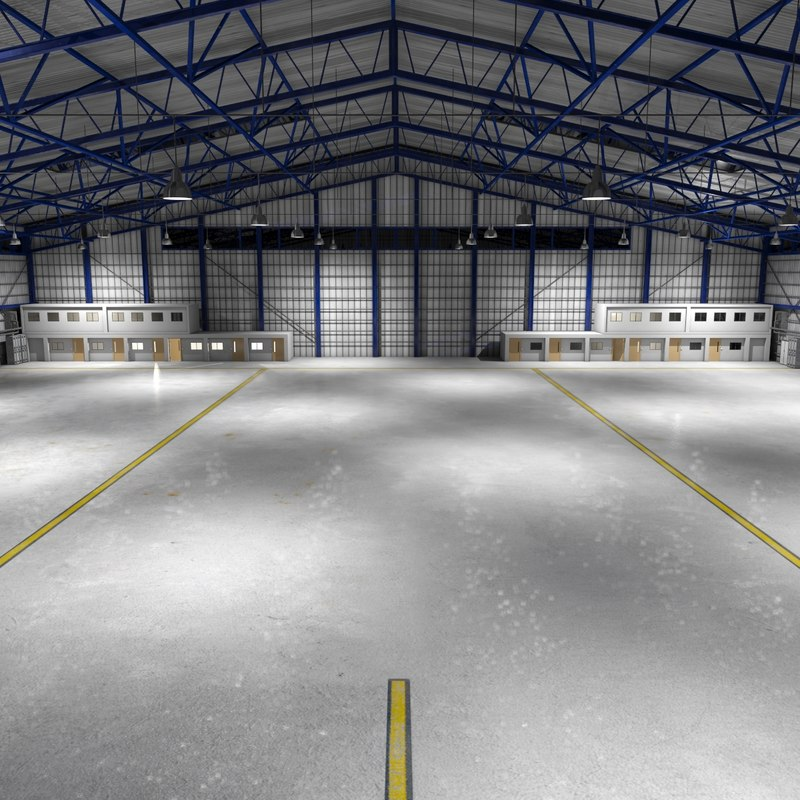 3d model scene commercial aircraft hangar