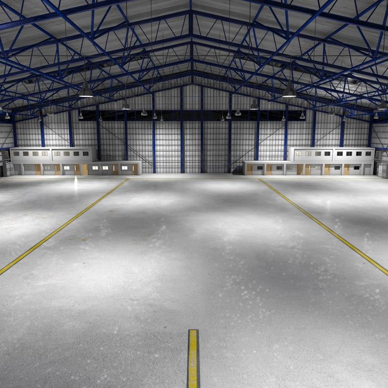 3d model scene commercial aircraft hangar