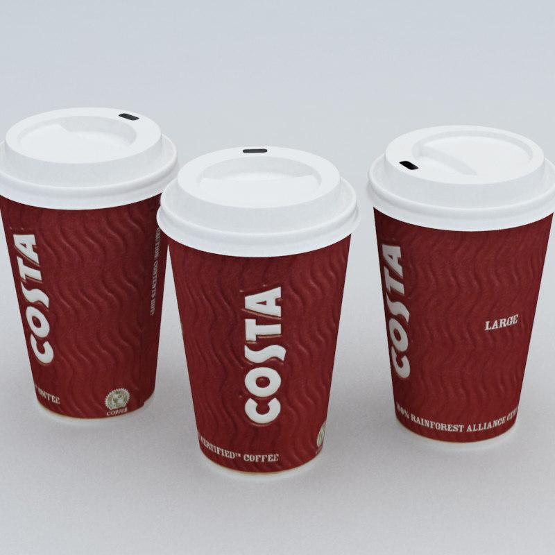3d model costa coffe cup