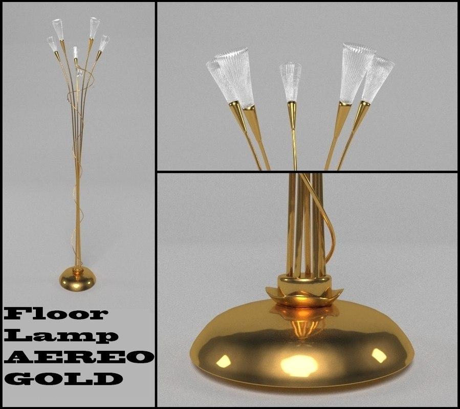 3d model floor lamp aereo gold