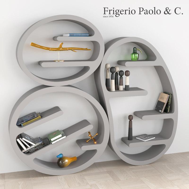 3d model bookcase decorative set books