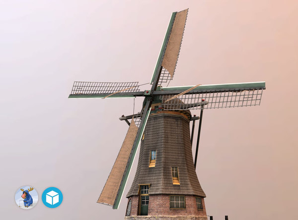 3d model low-poly holland windmill