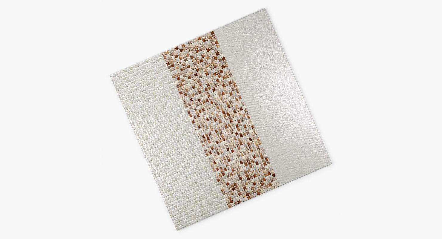 3d tile wall glass beige model