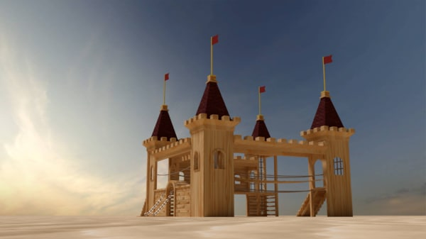 wooden castle playground 3d model