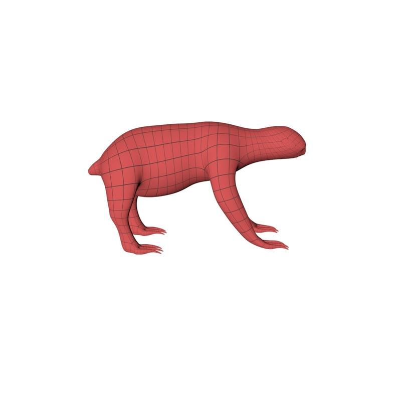 3d model base mesh sloth