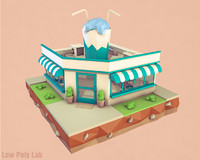 Cartoon Cocktail Cafe low poly 3D model