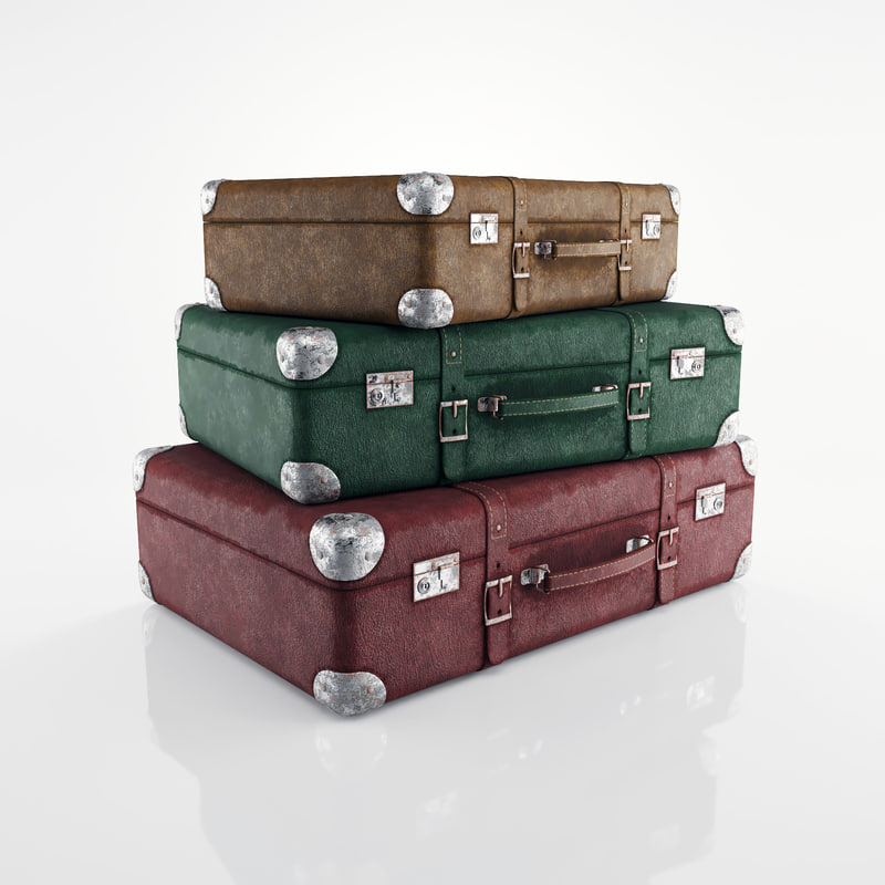 3d old suitcases model