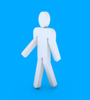 male bathroom figure walking 3d model