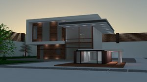 modern architecture house 3d max